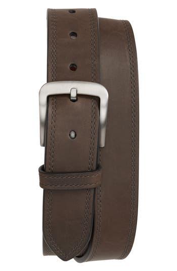 Shinola Double Stitch Leather Belt, Charcoal