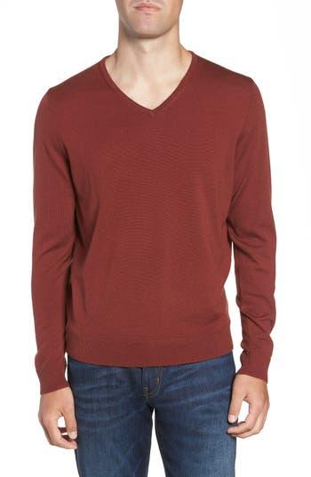 Big & Tall Nordstrom Shop V-Neck Merino Wool Sweater, Brown