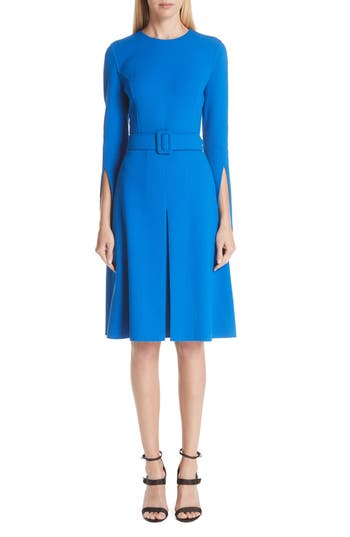 Oscar De La Renta Split Sleeve Stretch Wool Crepe Dress, Blue