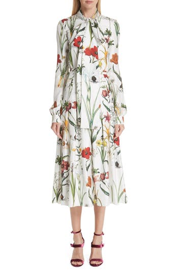 Oscar De La Renta Harvest Floral Silk Twill Dress, White