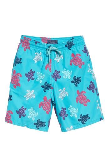 Vilebrequin Multicolor Turtle Print Swim Trunks, Blue/green