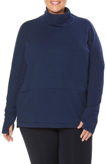 Plus Size Shape Activewear Mock Neck Pullover, Blue