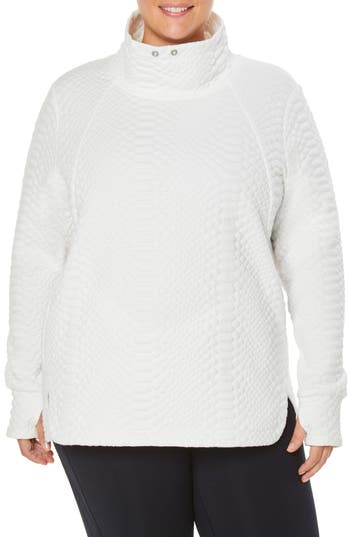 Plus Size Shape Activewear Saturday Mock Neck Pullover, White