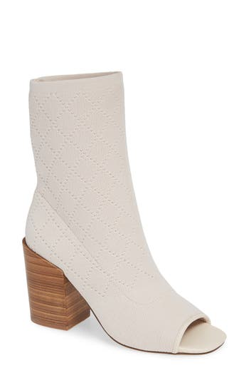 Kelsi Dagger Brooklyn Macey Knit Peep Toe Bootie- White