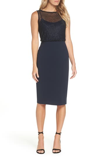 Adrianna Papell Bead Embellished Sheath Dress
