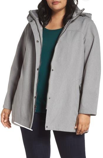 Plus Size Kristen Blake Hooded Soft Shell Jacket, Grey