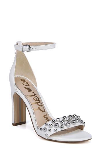 Sam Edelman Yoshi Studded Ankle Strap Sandal, White