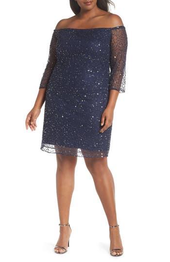 Plus Size Pisarro Nights Beaded Off The Shoulder Sheath Dress, Blue