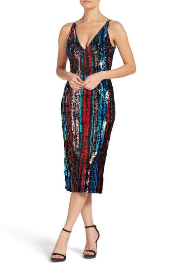 1960s – 70s Cocktail, Party, Prom, Evening Dresses Womens Dress The Population Margo Plunge Neck Sequin Dress Size XX-Large - Red $268.00 AT vintagedancer.com