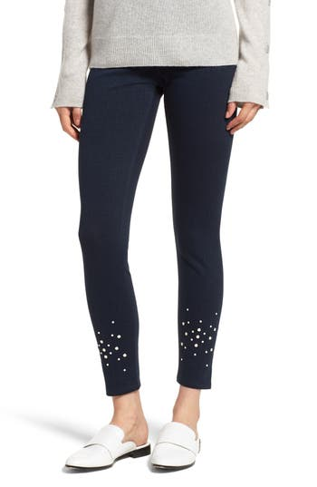 Lysse Beaded Ankle Denim Leggings, Blue