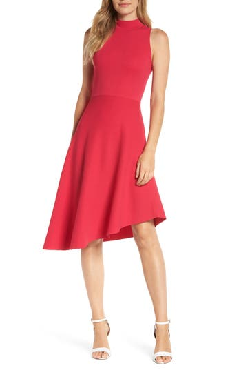 Eliza J Asymmetrical Fit & Flare Sweater Dress, Pink