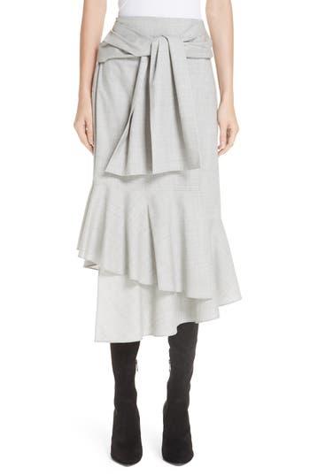 ADEAM Ruffled Suiting Skirt, Grey Melange