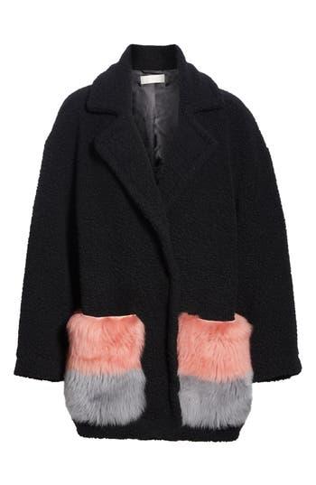 Anne Vest Berri Wool Blend Coat With Genuine Shearling Pockets, US / 42 DE - Black