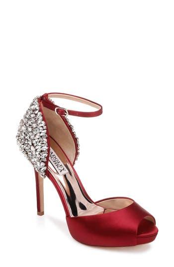 Badgley Mischka Ankle Strap Pump- Red