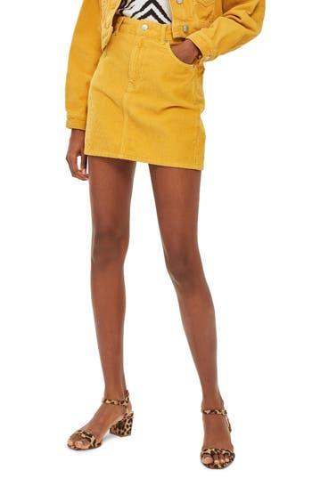Topshop Corduroy Skirt, US (fits like 0) - Yellow
