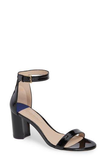 Stuart Weitzman 75Lessnudist Ankle Strap Sandal- Black