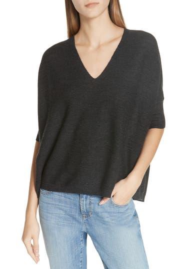 Eileen Fisher Merino Wool Three Quarter Sleeve Sweater, Grey