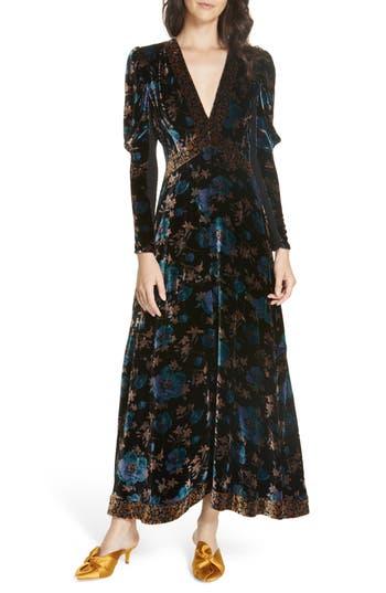 Rebecca Taylor Solstice Velvet Maxi Dress, Black