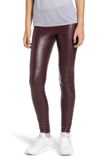 Hue Faux Leather Leggings, Brown