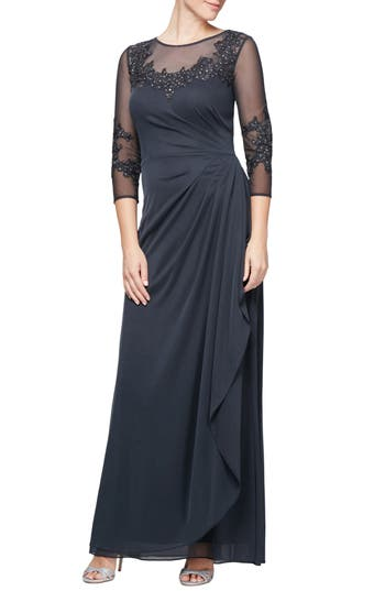 1930s Evening Dresses | Old Hollywood Dress Womens Alex Evenings Embroidered Mesh Gown $249.00 AT vintagedancer.com