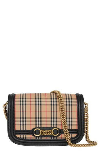Burberry Vintage Check Link Flap Crossbody Bag - Black