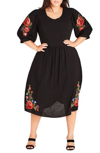 Plus Size Swing Dresses, Vintage Dresses Plus Size Womens City Chic Sweetly Embroidered Dress $99.00 AT vintagedancer.com