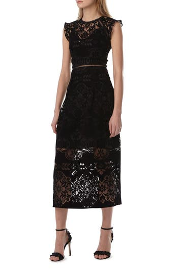 Ml Monique Lhuillier BURNOUT VELVET MIDI DRESS