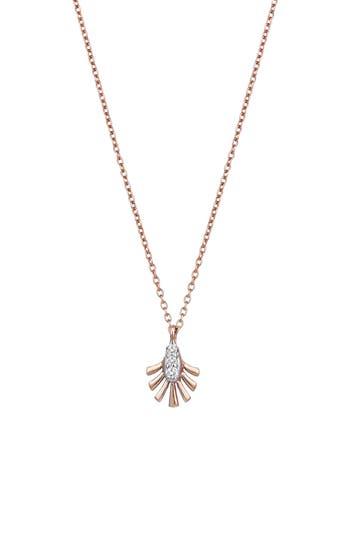 Diamond Palm Leaf Pendant Necklace, Rose Gold/ Diamond