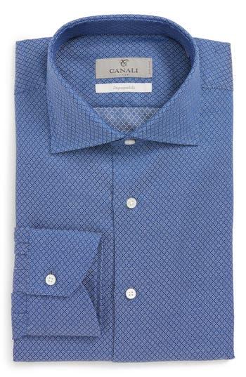Big & Tall Canali Regular Fit Print Dress Shirt, Blue