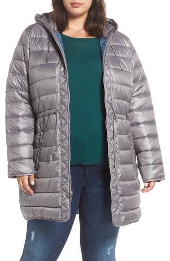 Plus Size Kenneth Cole New York Packable Quilted Parka, Grey
