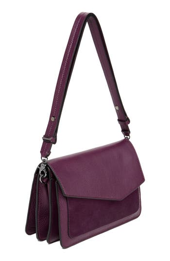 Cobble Hill Leather Shoulder Bag - Purple