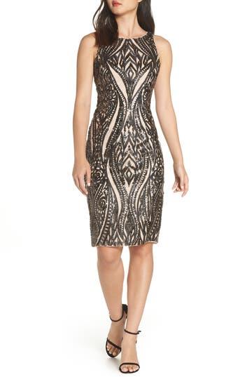 Adrianna Papell Embellished Sheath Dress, Beige