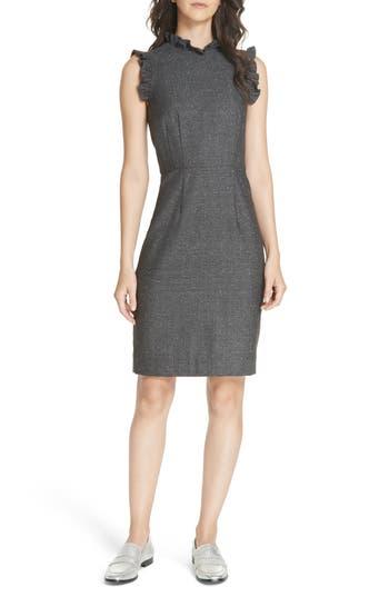 Rebecca Taylor Wool & Silk Herringbone Dress, Grey