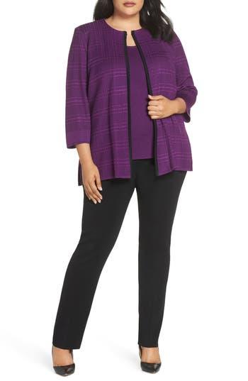 Plus Size Ming Wang Jacquard Knit Jacket, Purple