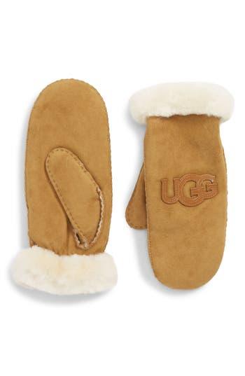 Ugg Logo Genuine Shearling Mittens, Brown
