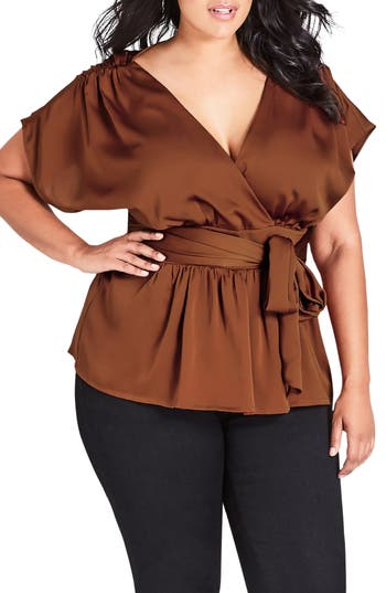 1930s Style Blouses, Shirts, Tops | Vintage Blouses Plus Size Womens City Chic Tangled Faux Wrap Top Size Small - Brown $75.00 AT vintagedancer.com