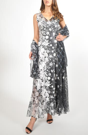 Komarov Lace-Back Maxi Dress With Shawl, Black
