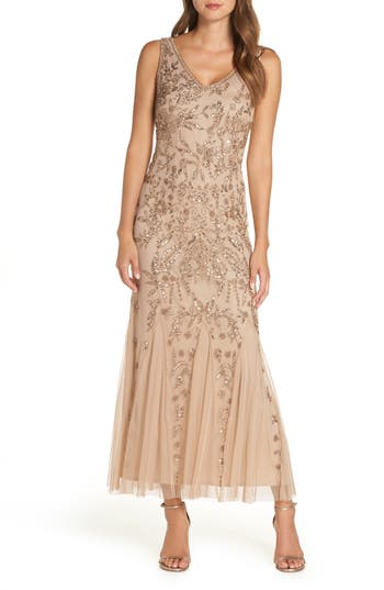 1920s Evening Dresses & Formal Gowns Pisarro Nights Embellished Mesh Gown Size 2P - Pink $238.00 AT vintagedancer.com