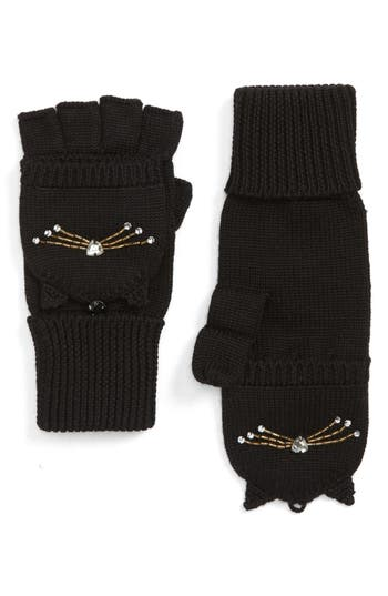 Kate Spade New York Cat Embellished Convertible Mittens, Size One Size - Black