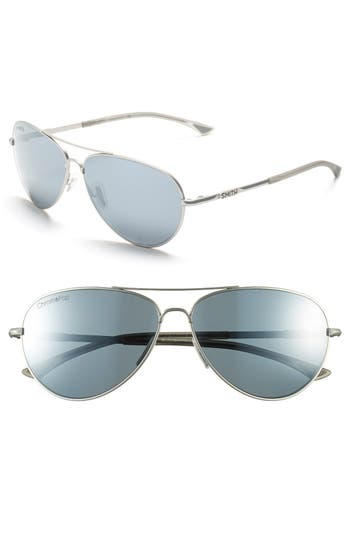 Women's Smith 'Audible - Chromapop' 60Mm Polarized Aviator Sunglasses - Matte Silver/ Polar Platinum