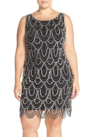 Plus Size Vintage Dresses, Plus Size Retro Dresses Plus Size Womens Pisarro Nights Beaded Sheath Dress Size 16W - Black $100.80 AT vintagedancer.com