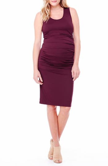 Women's Ingrid & Isabel Ruched Maternity Tank Dress, Size Large - Red