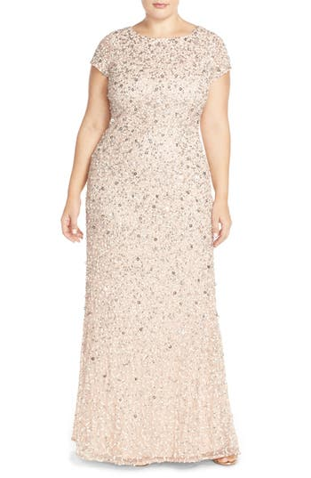 Plus Size Women's Adrianna Papell Embellished Scoop Back Gown