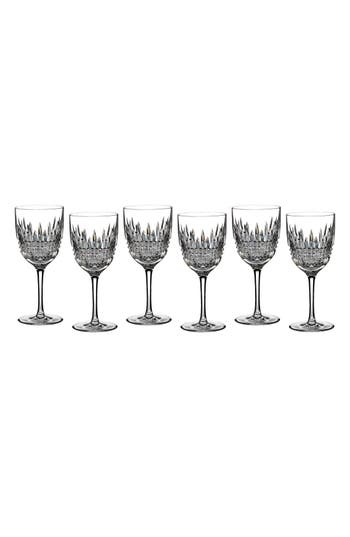 waterford lismore diamond set of 6 lead crystal white wine glasses