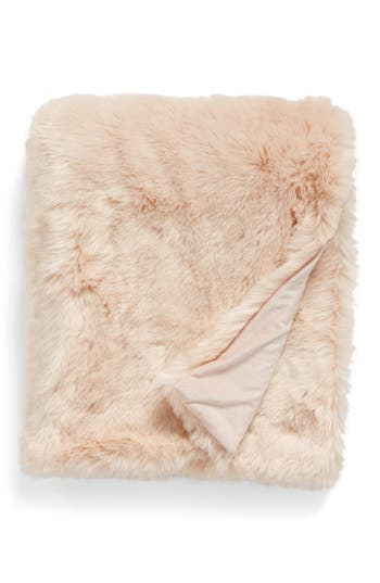 Nordstrom At Home Cuddle Up Faux Fur Throw Blanket, Size One Size - Pink