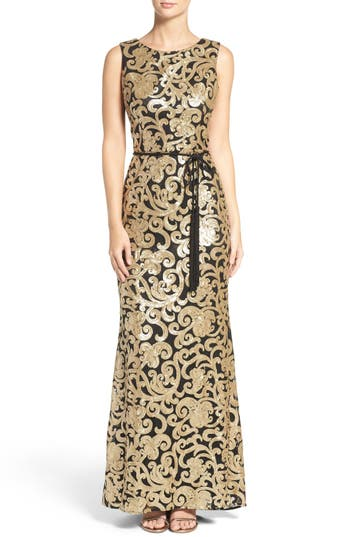Vince Camuto Belted Sequin Gown