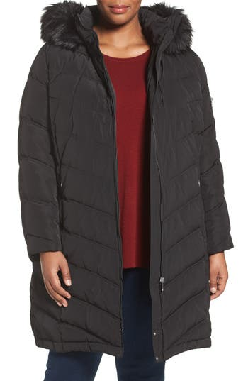Plus Size Women's Calvin Klein Water Resistant Puffer Coat With Faux Fur Trim