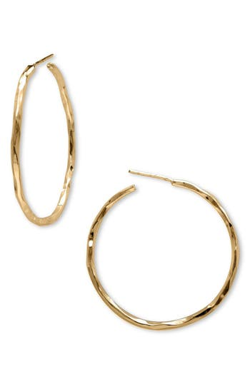 Women's Argento Vivo Medium Hammered Hoop Earrings