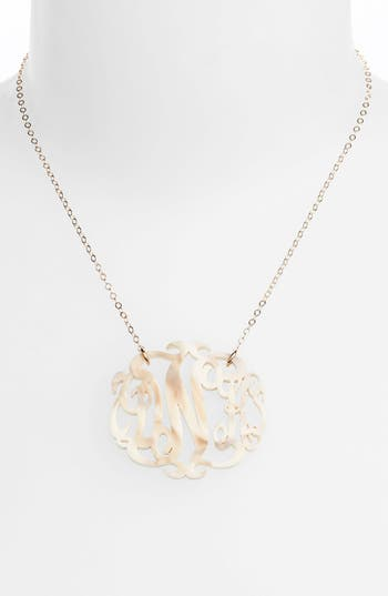 Women's Moon And Lola Large Oval Personalized Monogram Pendant Necklace (Nordstrom Exclusive)