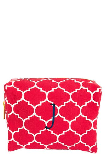 Cathy's Concepts Monogram Cosmetics Case, Size One Size - Coral